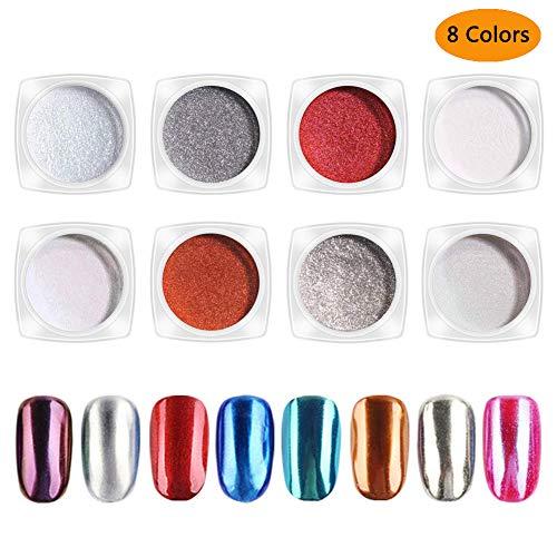 (AnnBay 8 Box Nail Art Powder Shinning Mirror Nail Glitter Powder Gorgeous Nail Art Chrome Pigment Glitters 8 Colors)