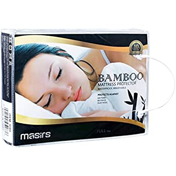 Waterproof Bamboo Mattress Protector - Thick and Soft Quilted Fabric Will Give You a Comfortable, Quiet and Cool Night Sleep. Quality Fabric That is Durable and Machine Wash Really Well. (Full Size)