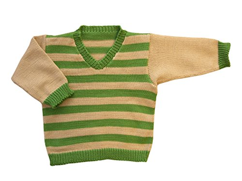 100% merino wool baby infant knitted sweater striped (24-36 mo, Green-Beige) (Virgin Wool Sweater)