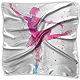 Anutknow Women Pink Watercolor Ballet Elegant Dance Girl Soft Neckerchief Chiffon Scarf
