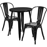 24'' Round Black Metal Indoor-Outdoor Restaurant Table Set with 2 Cafe Chairs