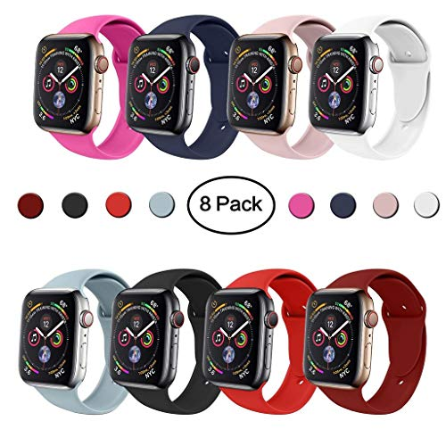VATI Sport Band Compatible with Apple Watch Band 42mm 38mm, Soft Silicone Sport Strap Replacement Bands Compatible with iWatch Apple Watch Series 3, Series 2, Series 1 S/M M/L