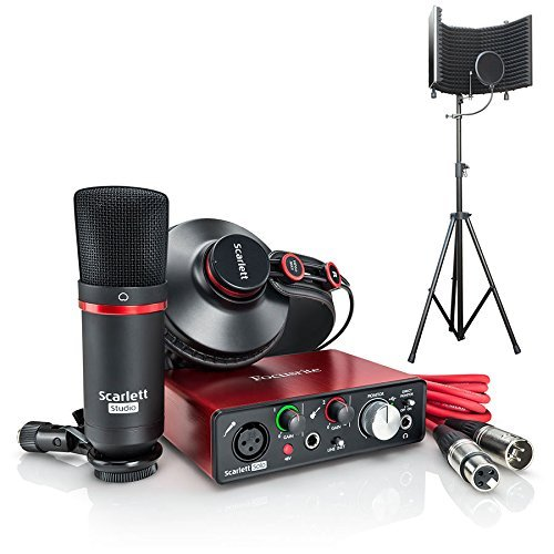 Usb Microphone Package - Focusrite Scarlett Solo Compact USB Audio Interface Studio Package - 2nd Generation with Microphone Isolation Shield With Stand