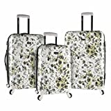 3 Piece Bohemian Garden Flowers Design Spinner Lightweight Expandable Luggage Suitcases, Nature Lovers Theme, Hardshell, Rolling, Multi Compartment, Durable Locking Handle Travel Cases, White, Grey