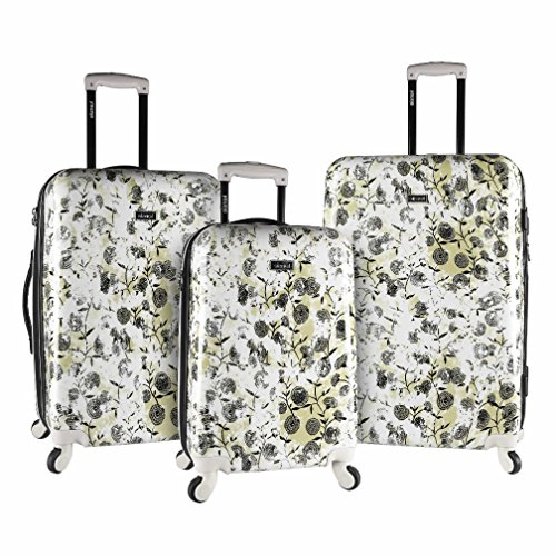 3 Piece Bohemian Garden Flowers Design Spinner Lightweight Expandable Luggage Suitcases, Nature Lovers Theme, Hardshell, Rolling, Multi Compartment, Durable Locking Handle Travel Cases, White, Grey by S & E