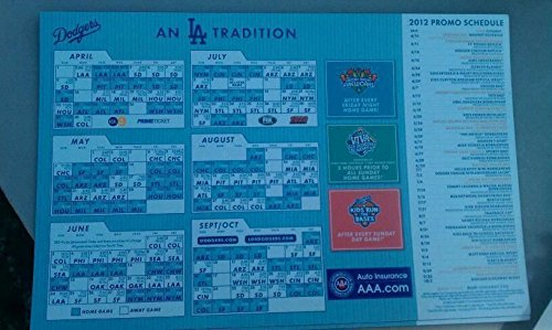 2012 LOS ANGELES DODGERS DODGER STADIUM 50TH ANNIVERSARY SCHEDULE MAGNET AAA (Baseball Schedule Magnets)