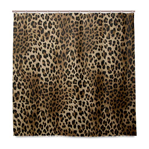 - Naanle Animal Tiger Print Shower Curtain Home Decor, Wild Tiger Leopard Print Waterproof Polyester Fabric Bathroom Shower Curtain Set with Hooks, 72 X 72 Inches