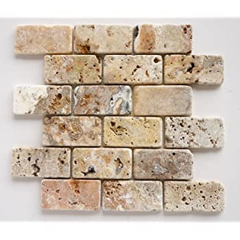 Amazon.com: scabos Travertino 2 x 4 ladrillo mosaico ...