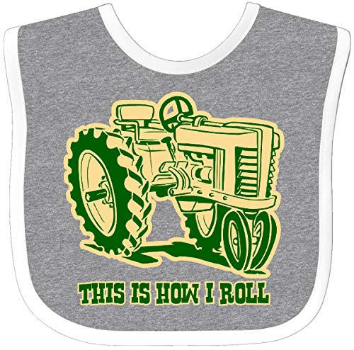 (Inktastic - This Is How I Roll Tractor GRN Baby Bib Heather/White 29f4d )