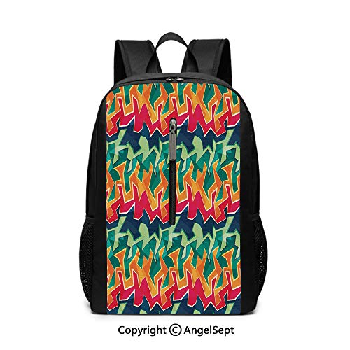 Fathion Laptop Backpack,Grunge,Colorful Graffiti Inspired Pattern Cool Crazy Funky Display Urban City Street Art,Multicolor12x17x6.5inches,Anti Theft Tablets knapsack
