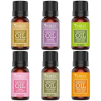 Purest Naturals Top 6 Essential Oils Set - 100% Pure Therapeutic Grade Oil - Rose Frankincense Lavender Ylang Ylang Lemongrass & Peppermint - Best For Oil Diffuser, Massage, Aromatherapy - Premium Kit