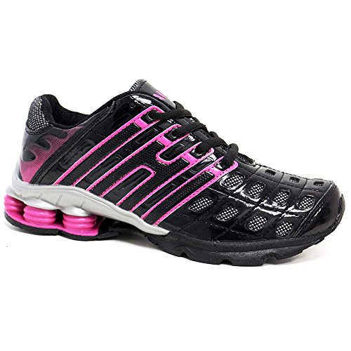 Ladies Running Trainers New Womens Shock Absorbing Fitness Gym Sports Shoes UK Size 3 - 8 Black Pink
