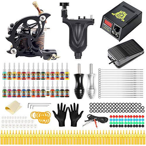 Solong Complete Tattoo Kit 2 Pro Tattoo Machine Gun with 28 Inks Power Supply for Tattoo Artrist Beginner TMK647C-1