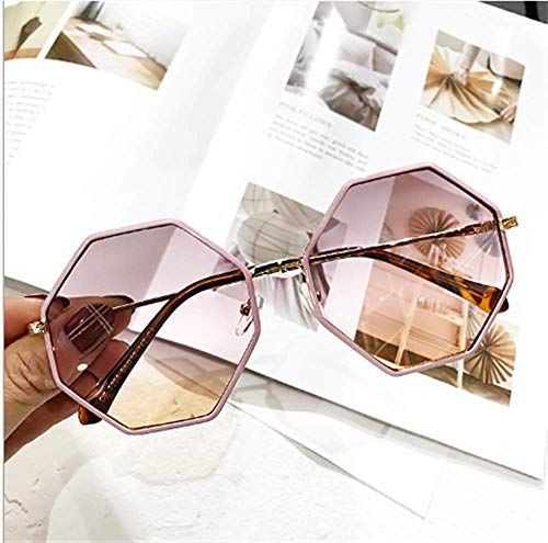 GONGFF Sunglasses Octagonal Retro Round face Sunglasses Big Box Female Sunglasses