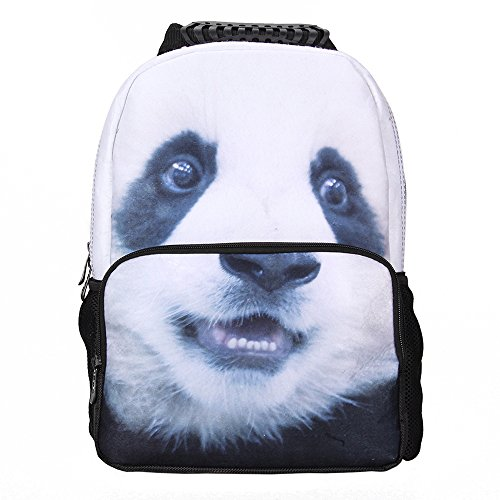Crazy Genie Fashion Casual Hiking Daypacks Boys Girls School Backpack Bags Multicoloured 3D Animal Print Deep Stereographic Felt Fabric (Panda)