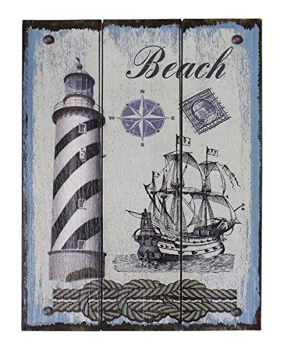 Rustic Vintage Crafted Home Decor Wall Art Painting Wooden Decorative Panels, Red Lighthouse - 3 panels