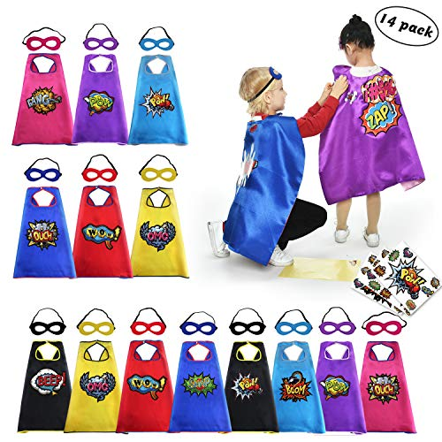 (Kids Superhero Capes with Felt Masks Toddler Play Capes Boys Girls Dress Up Costume Party Accessories with Stickers,14)