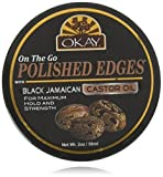 OKAY | On The Go Polished Edges with Black Jamaican Castor Oil | For All Hair Types & Textures | For Maximum Hold, Strength & Shine | With Argan Oil | 2 Oz