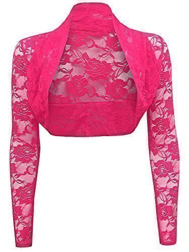 Trendy-Clothings-Cardigan-Court-Cache-Epaules-Bolro-En-Dentelle-Manches-Longues-Taille-unique-standard-EU-36-42-Rose-Fuchsia