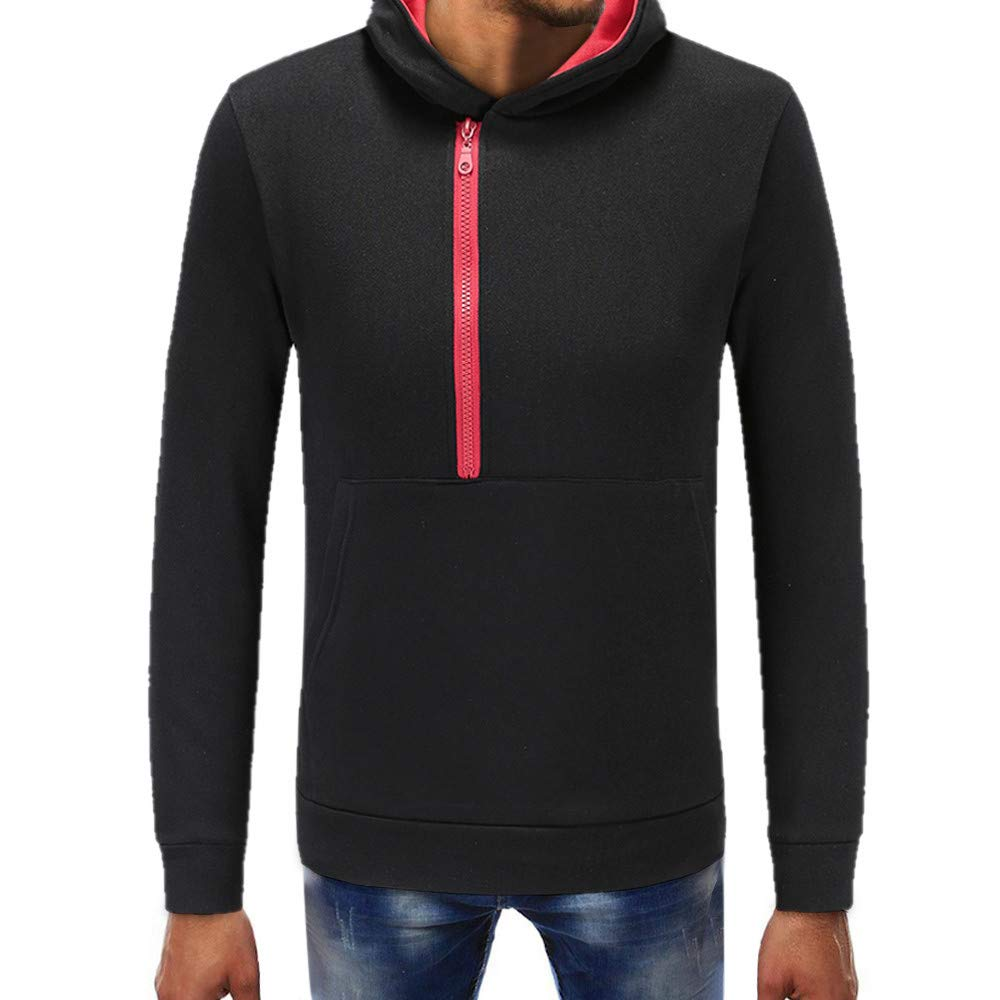 PASATO Clearance Fashion Mens Pure Color Zipper Pullover Long Sleeve Hooded Sweatshirt Tops Blouse O-Neck Sport Top(Black, M)