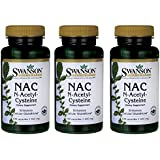 NAC N-acetyl Cysteine 600mg 3 Bottles of 100 Caps Total of 300 Caps by Swanson