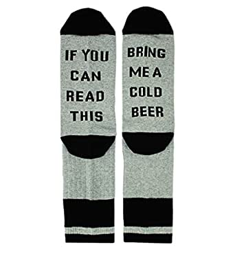 If You Can Read This Novelty Funny Saying Beer Socks Crew Socks, Gag Beer Gift for Women