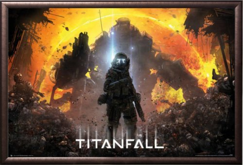 Framed Titanfall - Militia Pilot 36x24 Dry Mount Poster Rust