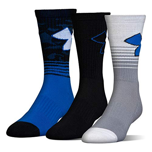 (Under Armour Boys Phenom 2.0 Crew Socks (3 Pack), Blue Marker, Youth Large)
