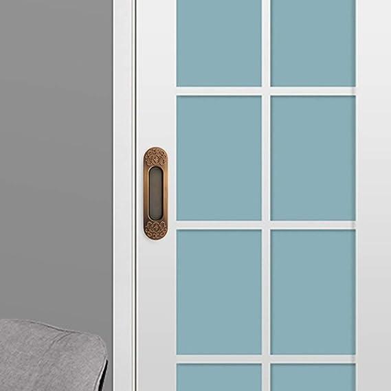 Tirador Empotrado de Puerta corredera Tirador de Puerta de aleación de Zinc Oculto Tirador de Puerta Cian gabinete cajón Tirador de Dedo Mango de Granero 150 mm x 39 mm (Color :