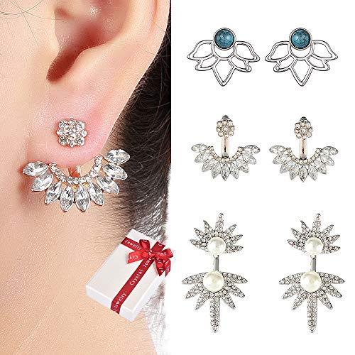 Juland 3 Pairs Hollow Lotus Flower Earrings Back Cuffs Jacket Earrings Crystal Simple Chic Stud Earrings Set for Women Girls - Silver