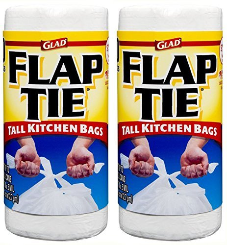 Glad Flap Tie Tall Kitchen Bags, White, 13 Gallon, 40 Count (Pack of 2)