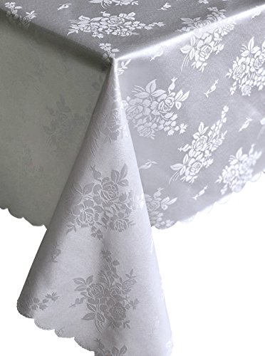 (Occasions Jacquard Vintage Style White Flowered Pattern Tablecloth for Wedding Parties, Banquet, Shabbat (70'' x 144'', White Floral)