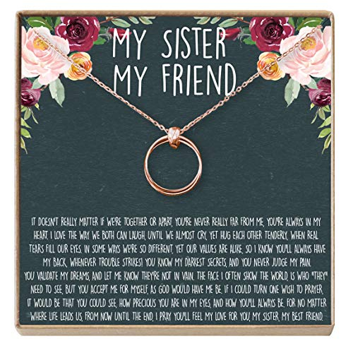 Sisters Necklace: Sister Gift, Gift for Sister, Sister Birthday Gift, Giggles, Secrets, 2 Linked Circles (Rose-Gold-Plated-Brass, NA)