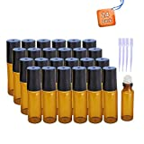 24 pcs Glass Roll-on Bottles with Stainless Stell Roller Balls with 4 droppers - 10 ml