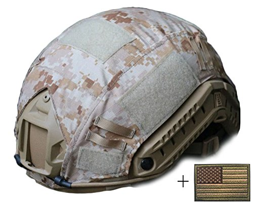 OSdream Tactical Military Helmet Covers Camouflage Cover Airsoft Paintball Shooting Helmet Accessory Only A Cover and US Flag Patch without Helmet (Desert digital)