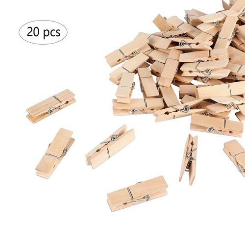 Betoores Large Wooden Clips Clothespins Natural Wooden Clothespins Set 2.8 Inch Photo Paper Pins Wood Snack Bag Clips Steel Springs (20 Per Pack) by Betoores
