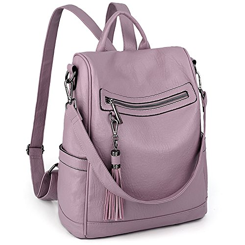 UTO Women Anti-Theft Backpack Purse PU Washed Leather Ladies Tassels Convertible Rucksack Shoulder Bag - Purse Convertible