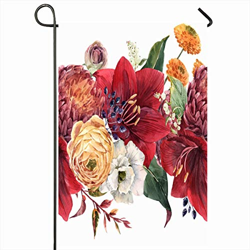Ahawoso Outdoor Garden Flag 12x18 Inches Pattern Yellow Autumn Watercolor Floral Red Amaryllis Flower Flowers Nature Berries Berry Bird Bloom Seasonal Double Sided Home Decorative House Yard Sign