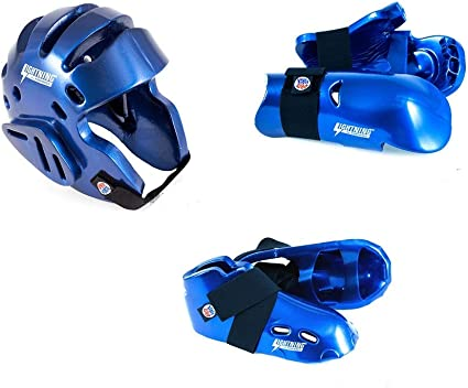 7 Piece ProForce Sparring Gear Set Head Hands Shin Foot Guards Karate Tkd Pads