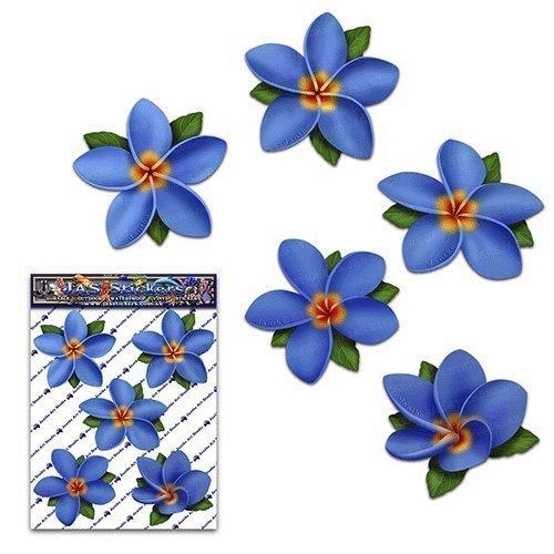 Fiore singolo blu Frangipani Plumeria Pack Adesivi Stickers auto - ST00041BL_SML - JAS Adesivi
