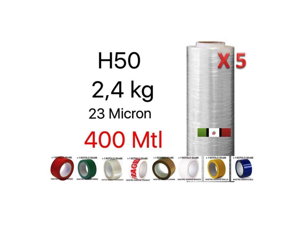 1 ROTOLO NASTRO ADESIVO 50x66 A SCELTA TRA 8 COLORI 5 BOBINE Pellicola Film in Polietilene per Imballo Imballaggi H 50 cm in Rotolo da 400 mtl spessore 23 micron peso 2,4 kg