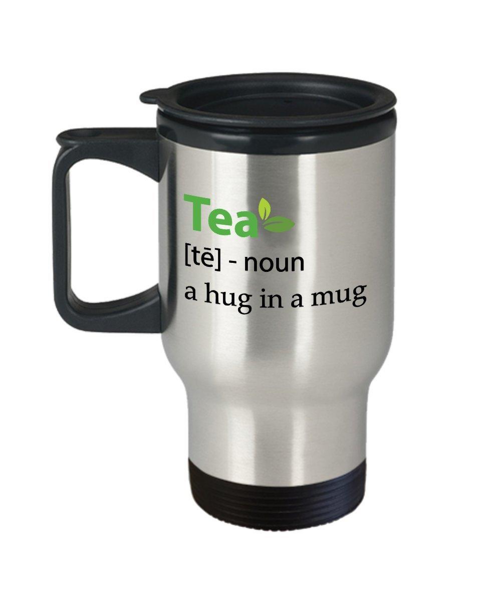 KiwiスタイルTea A Hug In A Mugステンレス鋼旅行マグカップ  Best母の日、誕生日、クリスマスプレゼントをお茶好き、ティーインフューザー、ストレーナ、おじいちゃん、おばあちゃん – 14オンスホワイト B075ZN9CTH