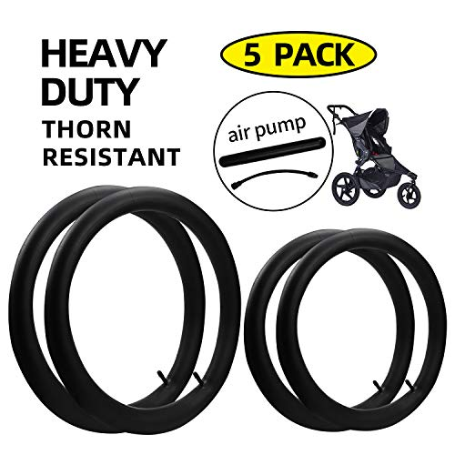 2-Pack 12.5'' x 1.75/2.15 Front Wheel,2-Pack16'' x 1.75/2.15 Back Wheel Baby Stroller Inner Tubes Replacement for BoB Revolution SE/Pro/Flex/SU/Ironman and 1 Tire Air Pump