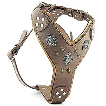 Image of Bestia Aztec Grey Big Dogs Leather Chest Plate Harness Pet Supplies