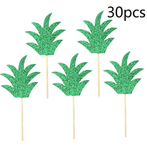 30pcs Pineapple Leaf Cake Toppers Cupcake Toppers Fruit Picks for Wedding Birthday Party Decor