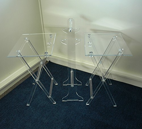 Clear Acrylic Lucite Set of 2 Folding TV Snack Trays with Stand
