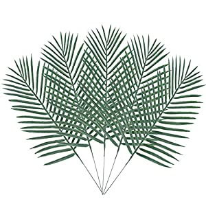 BAKAA Artificial Palm Leaf Tree Faux Plastics Leaves Green Plants Greenery for Flowers Arrangement Wedding Decoration Faux Palm Leaves 10PCS 2