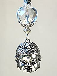 Large Silver Metal Buddha Face With Faceted Crystal Clear Glass Ceiling Fan Pull Chain - Lamp/Light Pull