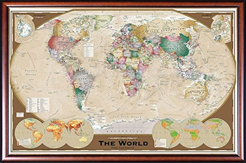 FRAMED World Map Triple View Poster Dry Mounted in Executive Series Walnut Wood Frame With Gold Lip - Crafted in USA