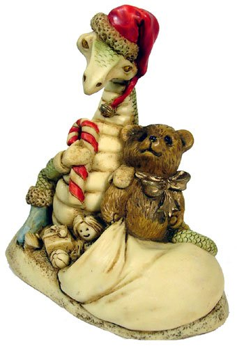 Dragon Figurine in Santa Hat with Candy Cane Toys Doll Teddy